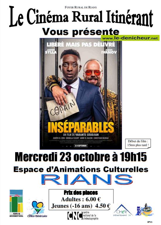 v23 - MER 23 octobre - RIANS - Inséparables (cinéma rural itinérant) 10-23_10