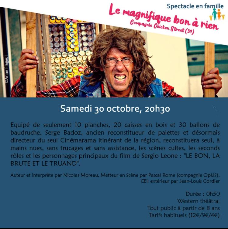 v30 - SAM 30 octobre - ST-AMAND-MONTROND - Le magnifique bon à rien (spectacle) 10-3010