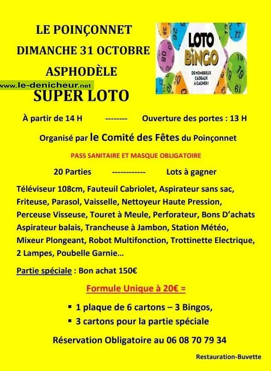 v31 - DIM 31 octobre - LE POINCONNET - Loto du comité des fêtes */ 10-31_26