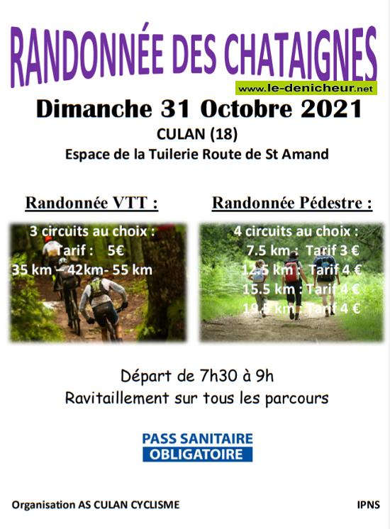 v31 - DIM 31 octobre - CULAN - Randonnée pédestre et VTT  */ 10-31a10