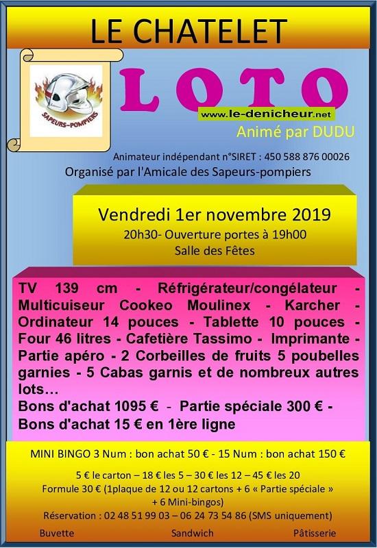 w01 - VEN 01 novembre - LE CHATELET - Loto des pompiers */ 11-0115