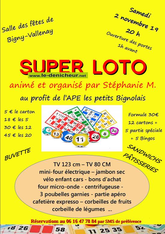 w02 - SAM 02 novembre - BIGNY VALLENAY - Loto de l'APE */ 11-02_13