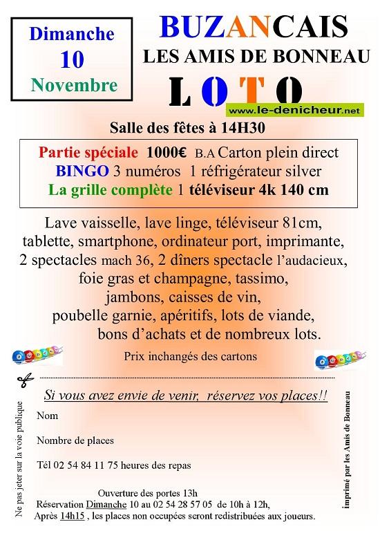w10 - DIM 10 novembre - BUZANCAIS - Loto des Amis de Bonneau */ 11-10_37