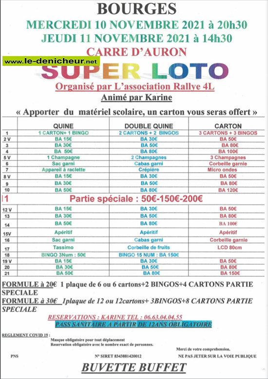 w10 - MER 10 novembre - BOURGES- Loto du Rallye 4L */ 11-11_25