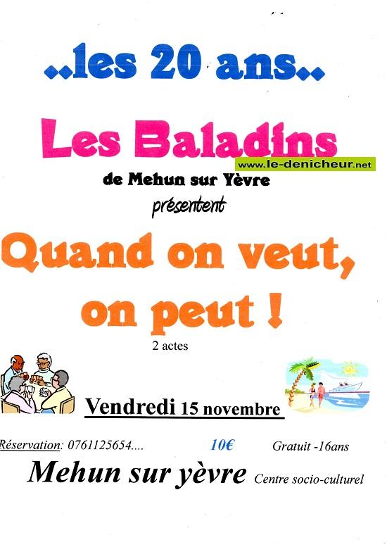 w15 - VEN 15 novembre - MEHUN /Yèvre - Quand on veut, on peut (théâtre)*/ 11-15_15