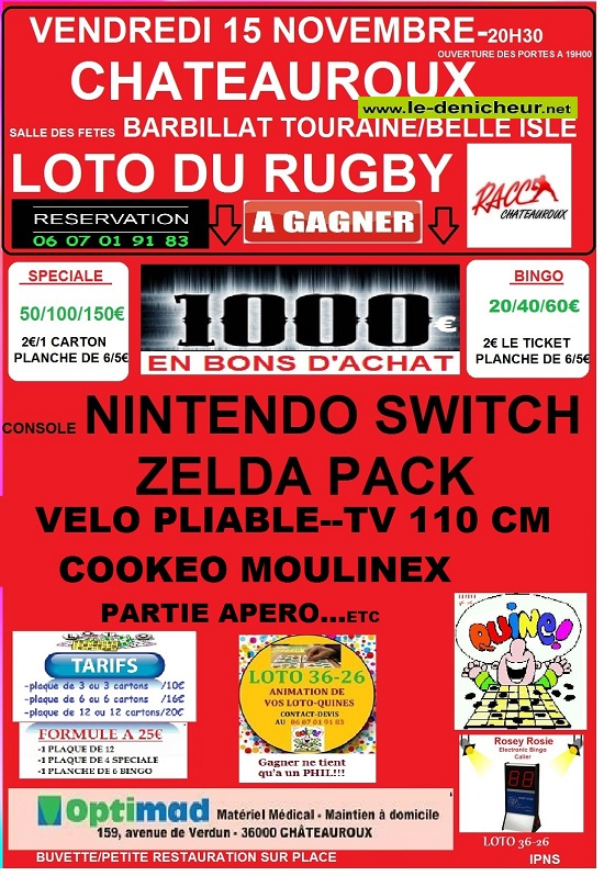 w15 - VEN 15 novembre - CHATEAUROUX - Loto du RACC */ 11-15_16