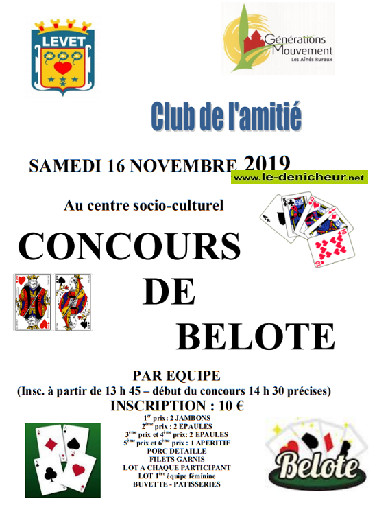 w16 - SAM 16 novembre - LEVET - Concours de belote */ 11-16_18