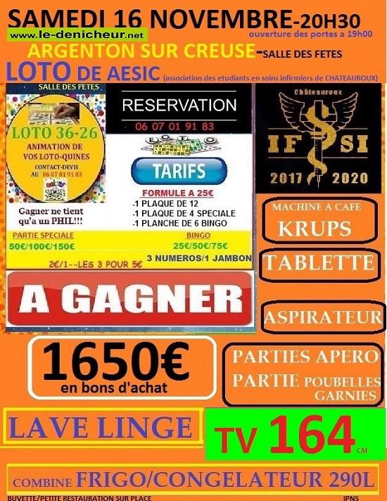 w16 - SAM 16 novembre - ARGENTON /Creuse - Loto de AESIC */ 11-16_20