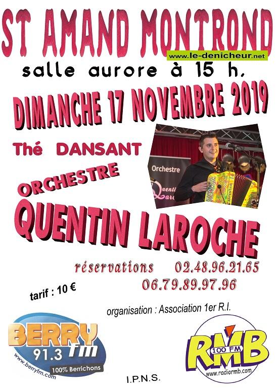 w17 - DIM 17 novembre - ST-AMAND-MONTROND - Thé dansant avec Quentin Laroche */ 11-20_11