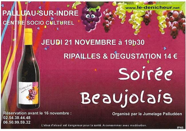w21 - JEU 21 novembre - PALLUAU /Indre - Soirée Beaujolais */ 11-21_11