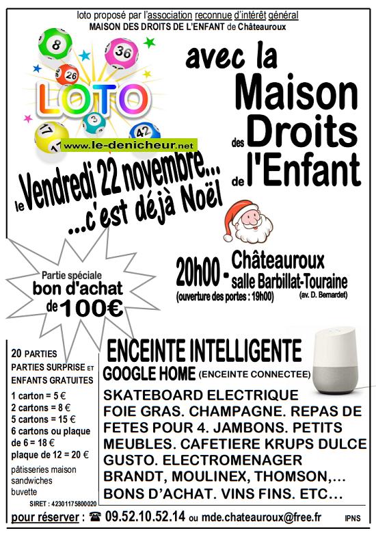 w22 - VEN 22 novembre - CHATEAUROUX - Loto de la Maison des Droits de l'Enfant*/ 11-22_12