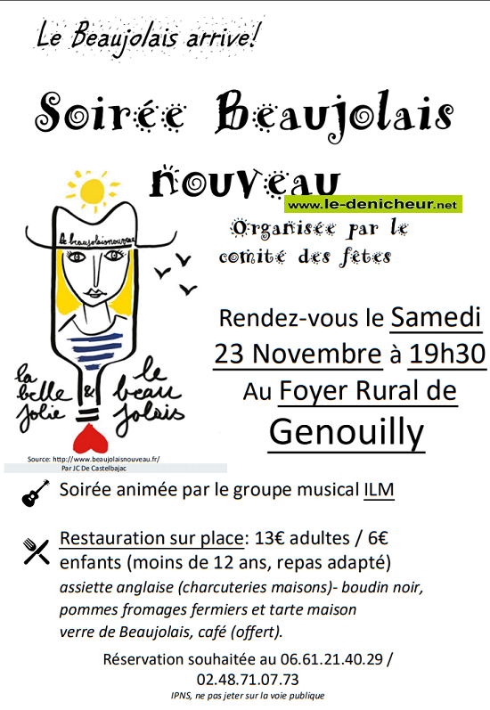 w23 - SAM 23 novembre - GENOUILLY - Soirée beaujolais Nouveau */ 11-23_15