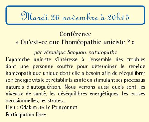"""w26 - MAR 26 novembre - LE POINCONNET - Conférence """"l'homéopathie uniciste"""" 11-2610"""