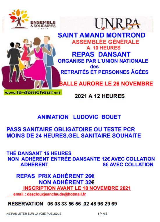 w26 - VEN 26 novembre - ST-AMAND-MONTROND - Repas dansant avec Ludovic Bouet */ 11-26_12