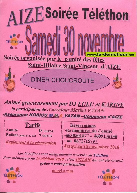w30 - SAM 30 novembre - AIZE - Soirée téléthon */ 11-30_31