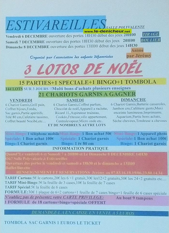 x08 - DIM 08 décembre - ESTIVAREILLES - Loto des Enfants défavorisés */ 112-0610