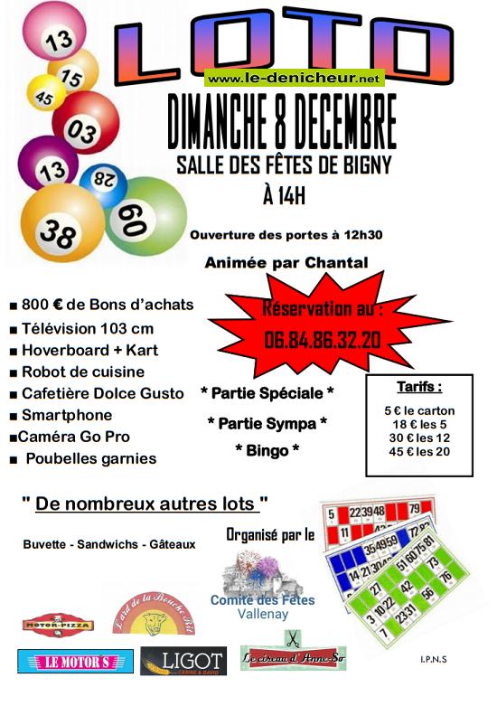 x08 - DIM 08 décembre - BIGNY - Loto du comité des fêtes de Vallenay */ 12-08_18