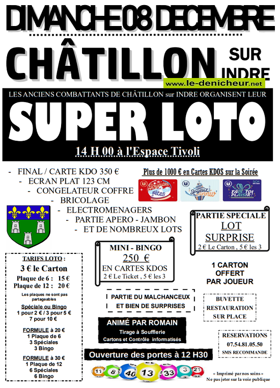 x08 - DIM 08 décembre - CHATILLON /Indre - Loto de l'UNCAFN */ 12-08_20