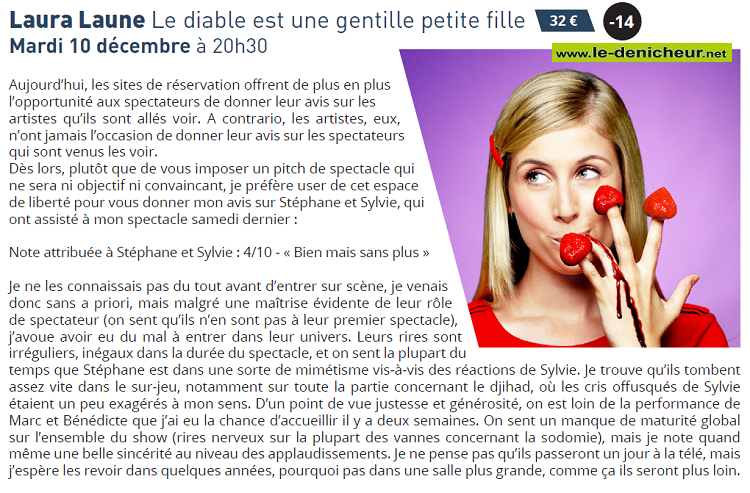 """x10 - MAR 10 décembre - VIERZON - Laura Laune """"Le diable est une gentille petite fille"""" 12-1010"""