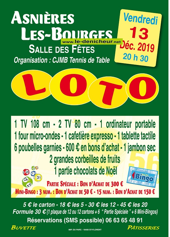 x13 - VEN 13 décembre - ASNIERES LES BOURGES - loto du CJMB Tennis de Table */ 12-13_13