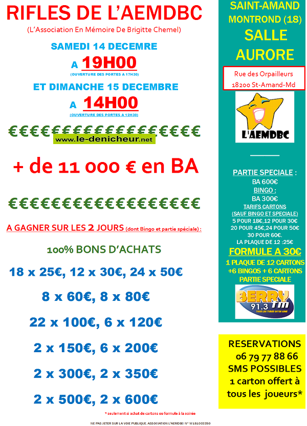 x15 - DIM 15 décembre - ST-AMAND-MONTROND - Loto de l'AEMDBC */ 12-14_14