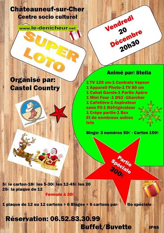 x20 - VEN 20 décembre - CHATEAUNEUF /Cher - Loto de Castel Country */ 12-20_15