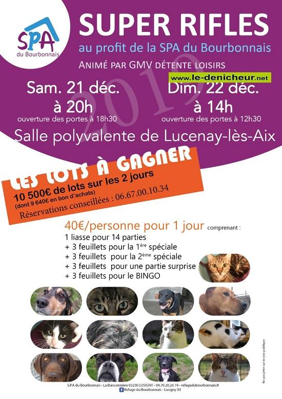 x21 - SAM 21 décembre - LUCENAY LES AIX (58) - Loto de la SPA du Bourbonnais */  12-21_23