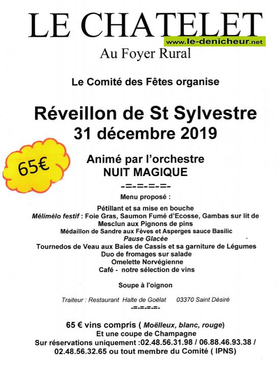 x31 - MAR 31 décembre 2019 - LE CHATELET - Réveillon de la St-Sylvestre */ 12-31_22