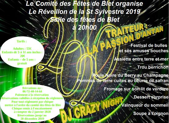 x31 - MAR 31 décembre 2019 - BLET - Réveillon de la St-Sylvestre du Comité des fêtes*/ 12-31_23