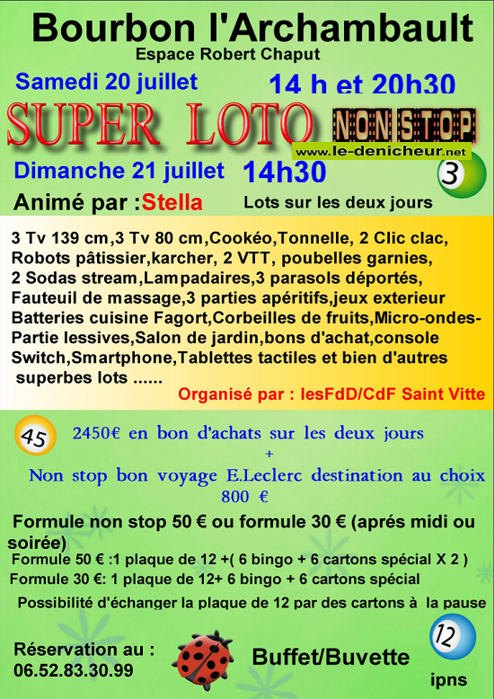 s20 - SAM 20 juillet - BOURBON L'ARCHAMBAULT - Loto des FdD et du CdF de St-Vitte */ 55011