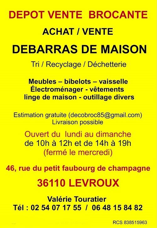 c15. LEVROUX (Indre) - Dépot Vente - Achat Vente - BROCANTE - Débarras de maison Levrou10