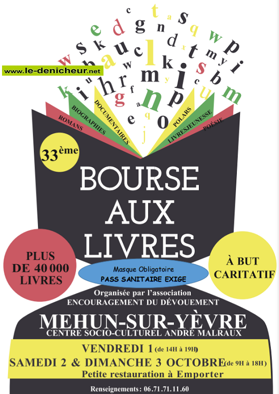 v01 - VEN 01 octobre - MEHUN /Yèvre - Bourse aux livres _* Sans_t72