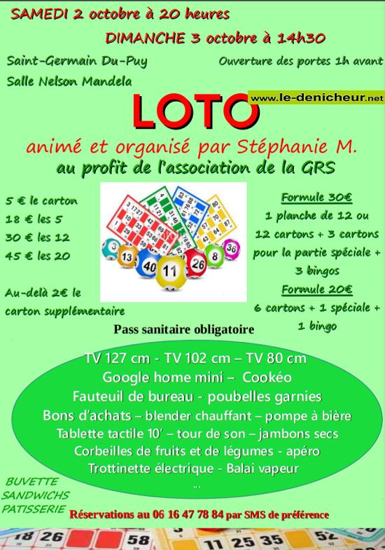 v02 - SAM 02 octobre - ST-GERMAIN DU PUY - Loto de la GRS */ Z010-010