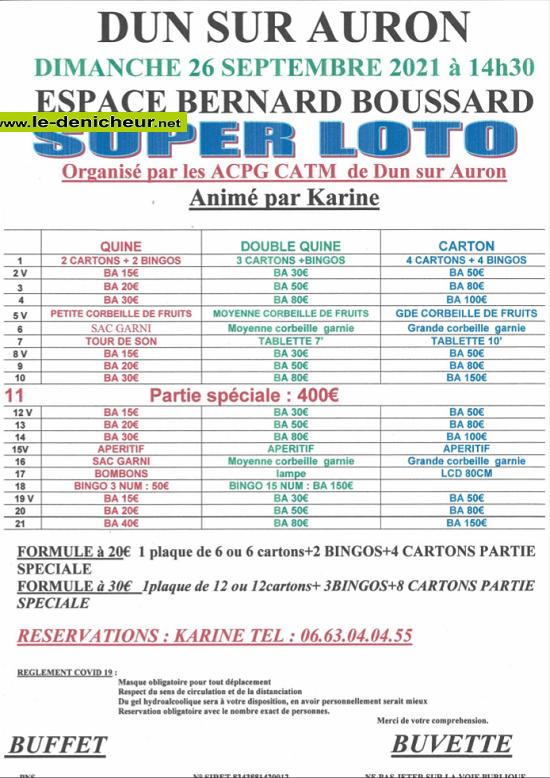 u26 - DIM 26 septembre - DUN /Auron - Loto des ACPG-CATM */ Z09-2610