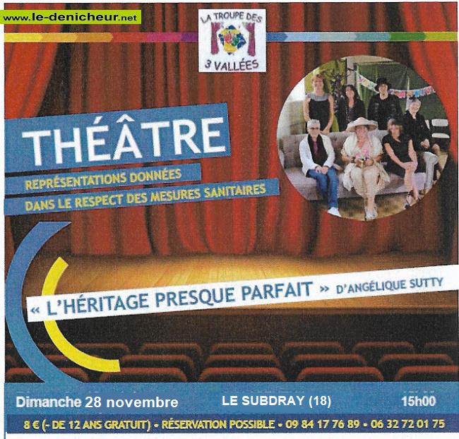w28 - DIM 28 novembre - LE SUBDRAY - L'héritage presque parfait (théâtre) */ Z10-1011