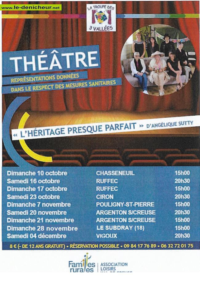 v10 - DIM 10 octobre - CHASSENEUIL - L'héritage presque parfait (théâtre) */ Z10-1012