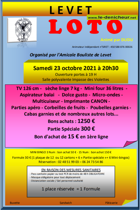 v23 - SAM 23 octobre - LEVET - Loto des boulistes */ Z10-2310