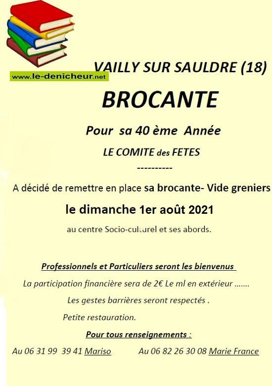 t01 - DIM 01 août - VAILLY /Sauldre - Brocante du comité des fêtes */ Zz08-010