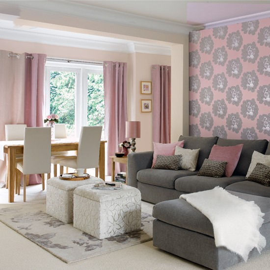 quelle couleur de peinture ou papier peint pour salle et sal Pink110
