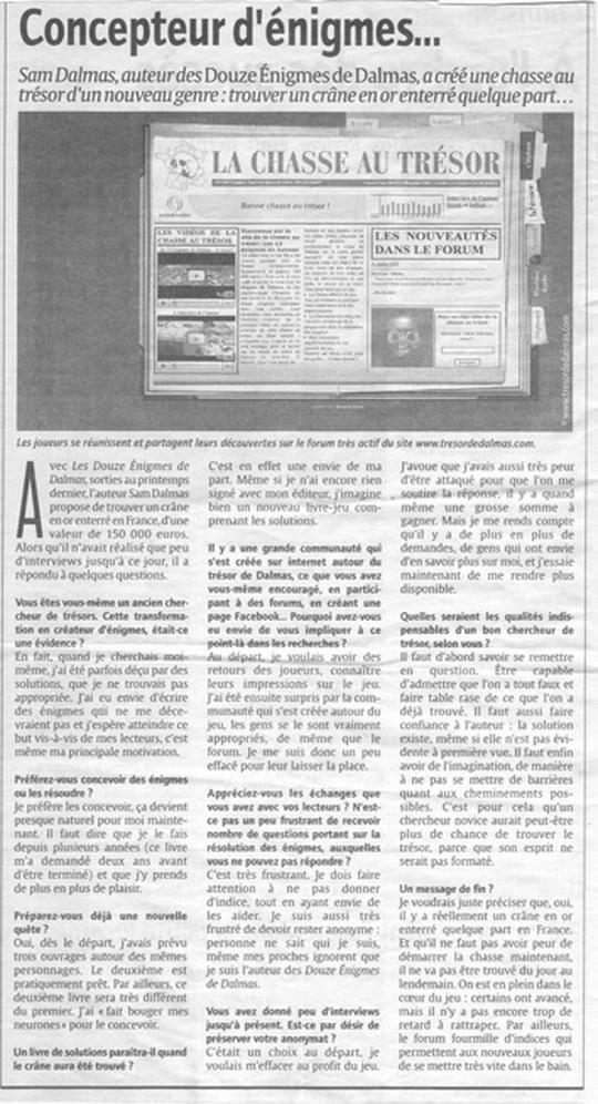 Les 12 énigmes de Dalmas - Généralités - Page 15 Aticle10