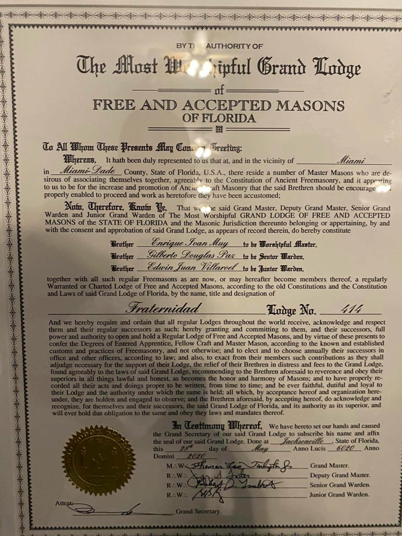 Recibe Carta Patente la Logia Fraternidad No. 414 11bf2810