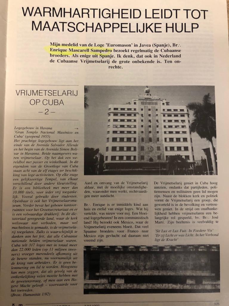 Enrique Mascarell Sampedro en la revista masónica holandesa AMT 53462f10
