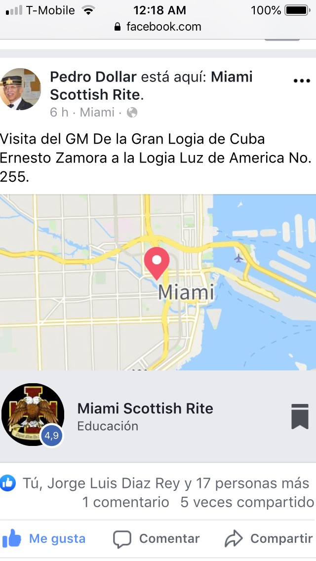 Visita del MRGM de la GL de Cuba Ernesto Zamora Fernandez a la Logia Luz de America No. 255 89920410