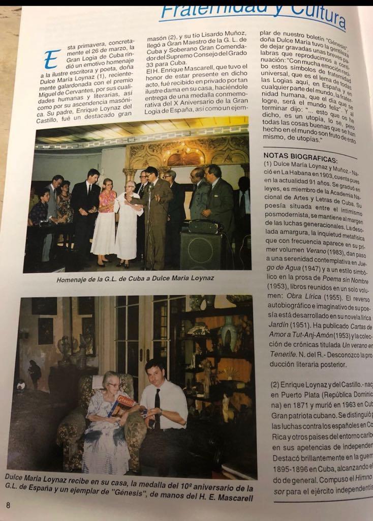 Homenaje de la Gran Logia de Cuba a Dulce Maria Loynaz A2224010