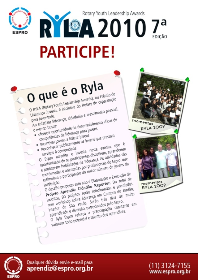o que é o Ryla, Inscriçoes e Premiações Ryla_111