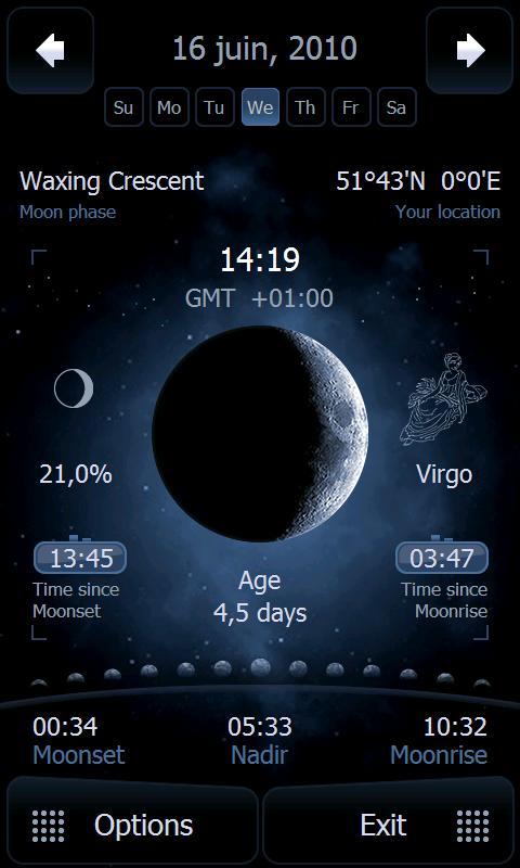 Deluxe Moon - [SOFT] DELUXE MOON : Prévision du le levé et couché de la lune [Gratuit] Screen43