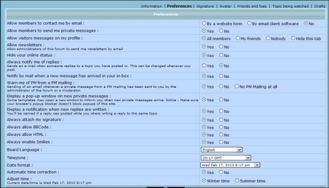 Your Profile - Preferences Profil12