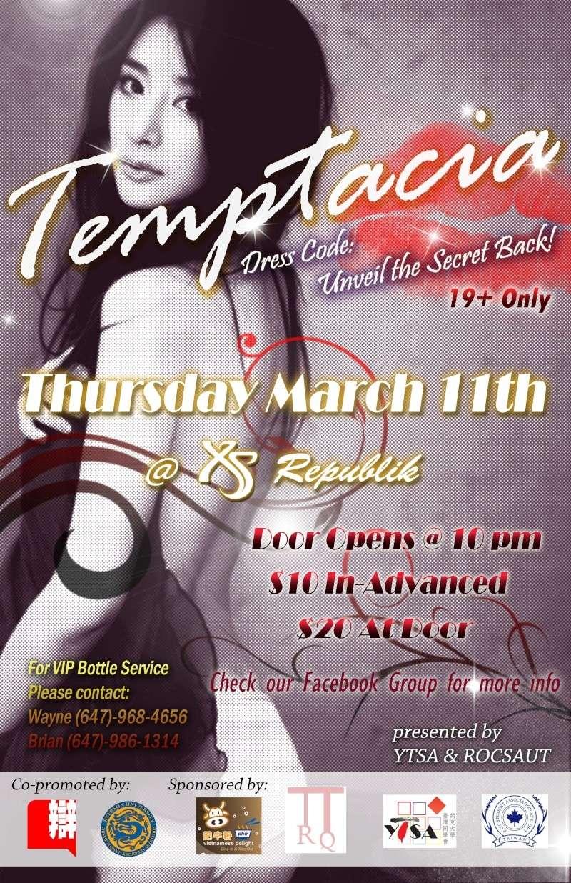 """【已結束】YTSA & ROCSAUT Presents: """"TEMPTACIA"""" @ Republik March 11 Tempta10"""