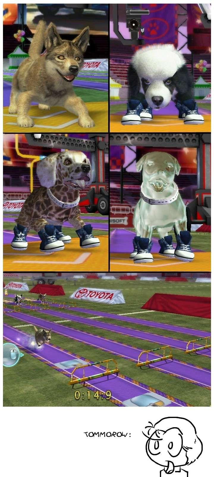 What if a coyote raced a panda, a giraffe and a platinum plated bulldog? Petz_s10