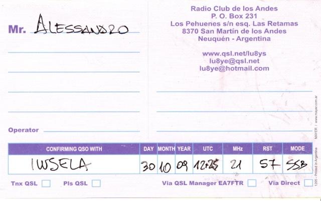 L'ANGOLO DELLA QSL....... Lu8yeb10